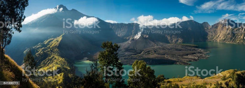 View over Mount Rinjani Crater Lake stock photo