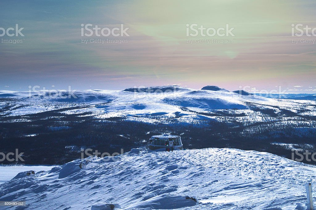 View over mountains stock photo