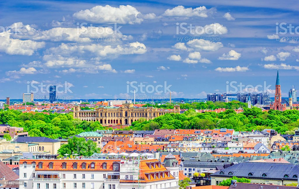 View over Munich in Spring stock photo