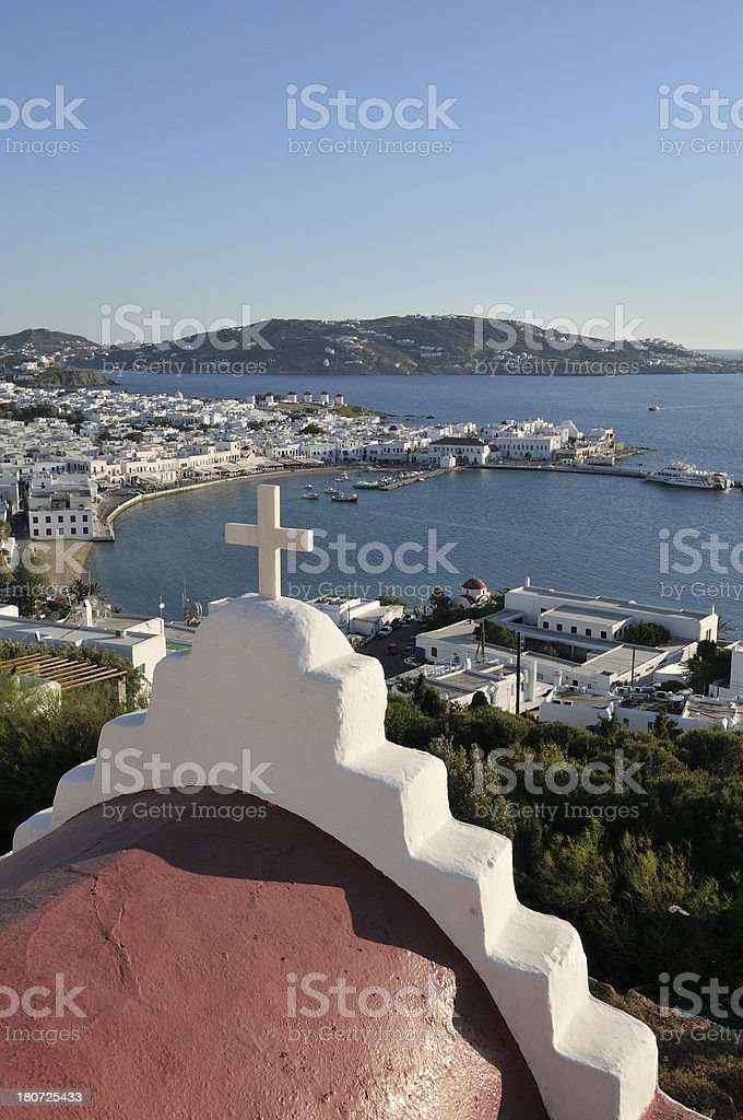 View over Mykonos Town & Harbor, Cylclades, Greece. royalty-free stock photo