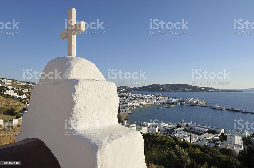 View over Mykonos Town & Harbor royalty-free stock photo