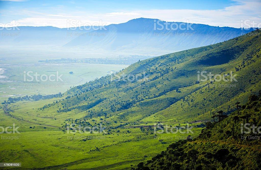 View over Ngorongoro crater. stock photo