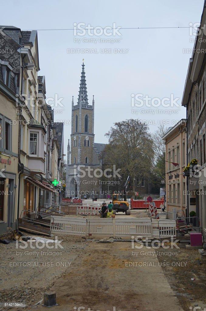 View over Nicolaus kirche in Eupen, Belgium. stock photo