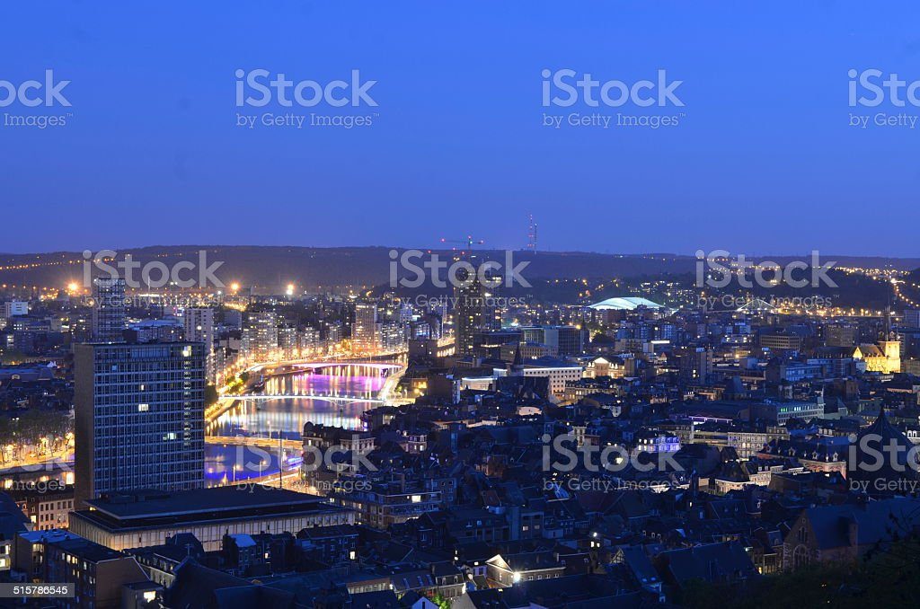 View over night liege taken from the top of citadel. stock photo