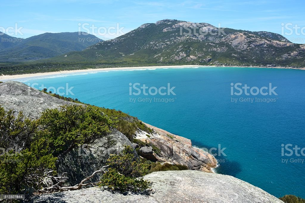 View over Norman Bay in Wilsons Promontory National Park stock photo