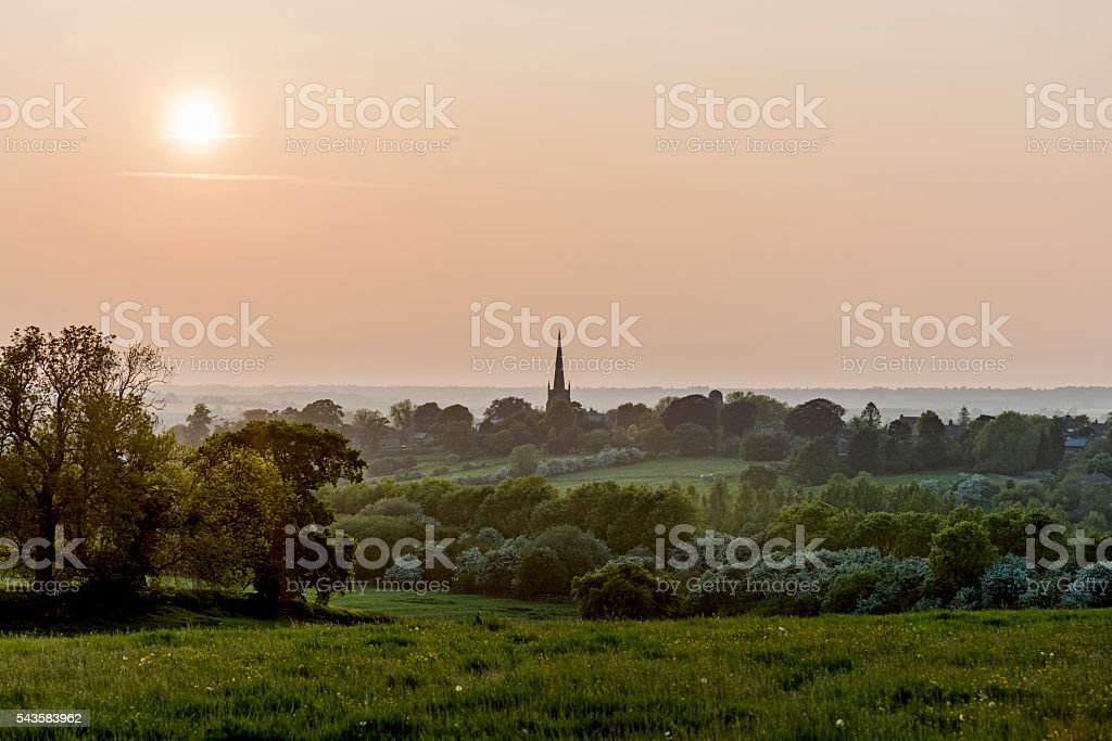 View Over Northamptonshire Looking Towards Village of Braunston stock photo