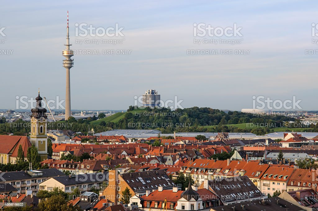 View over Nymphenburg and Olympiapark stock photo