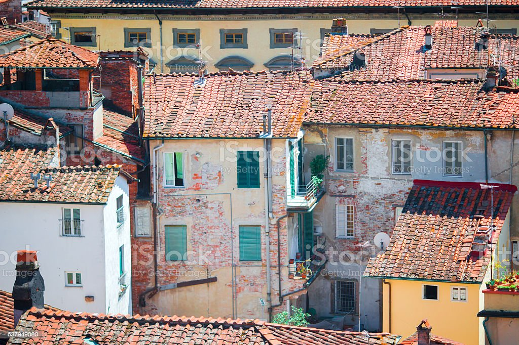 View over old italian town Lucca with typical red roofs. stock photo