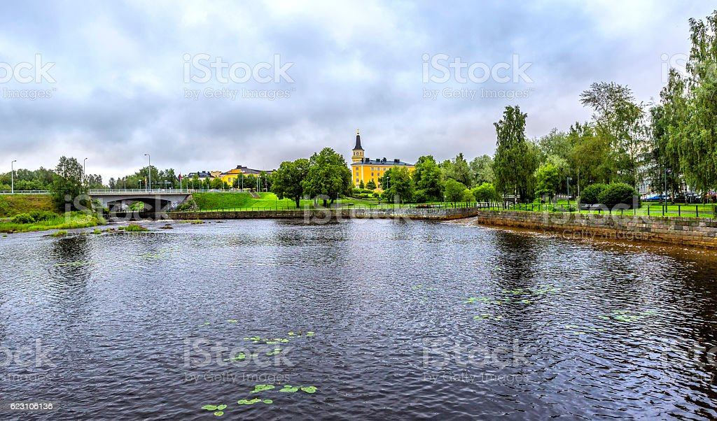 View  over Oulujoki river in Oulu. stock photo