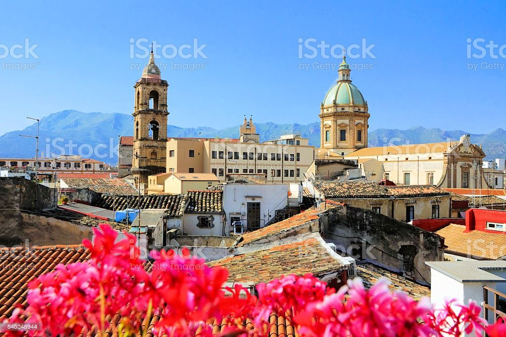 View over Palermo, Sicily with vibrant flowers stock photo
