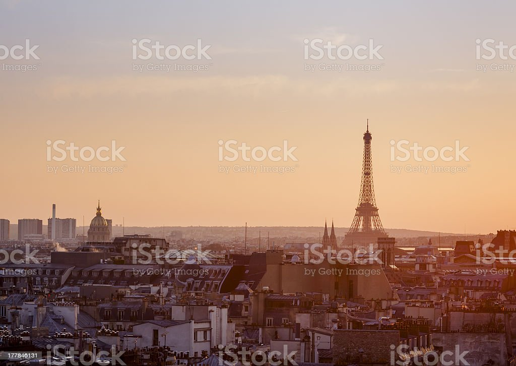 View over Paris with Eiffel Tower at sunset stock photo