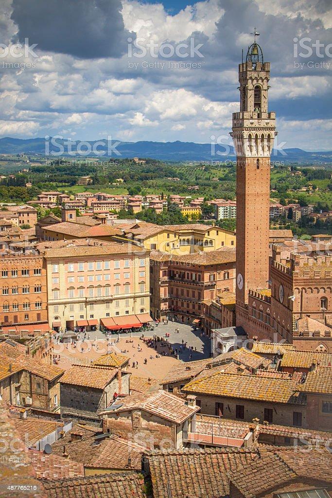 View over Piazza del Campo, Siena stock photo