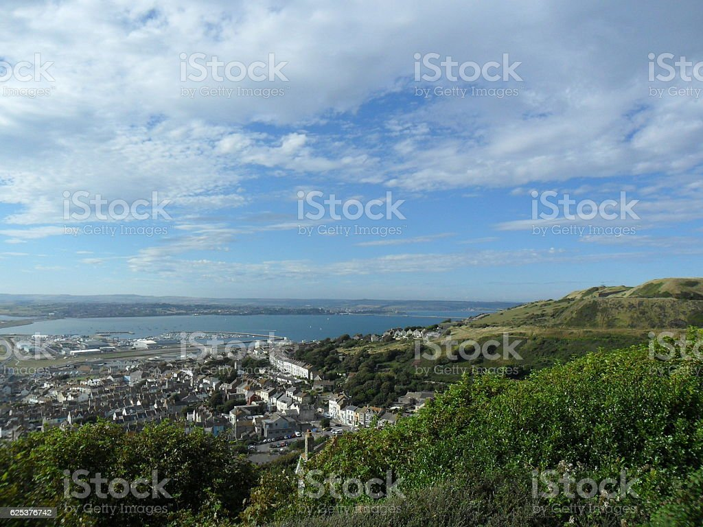 View over Portland Marina and Weymouth Bay stock photo