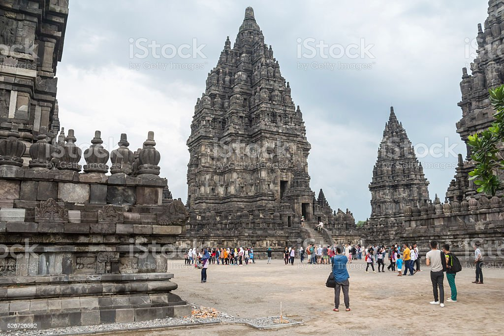 View over Prambanan temple, Indonesia stock photo