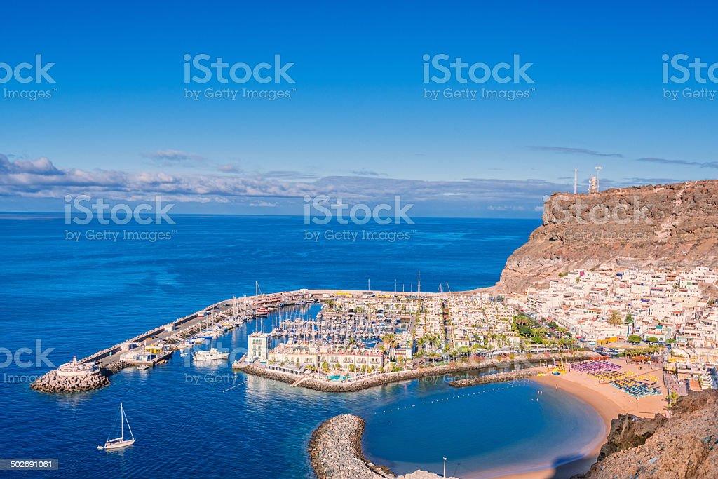 View over Puerto de Mogan - Gran Canaria stock photo