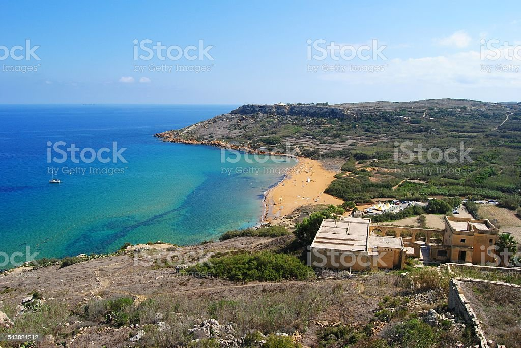 View over Ramla Bay from the Calypso's Cave. stock photo