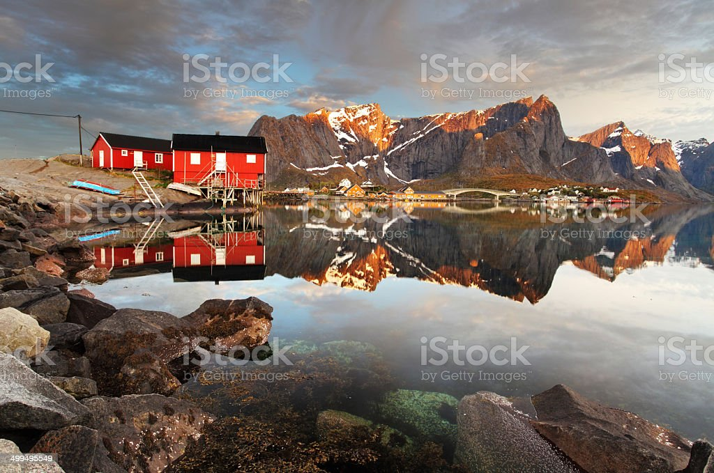 View over Reine village, Norway stock photo