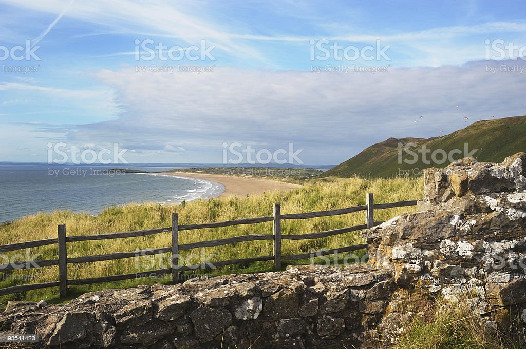 View over Rhossili Bay stock photo