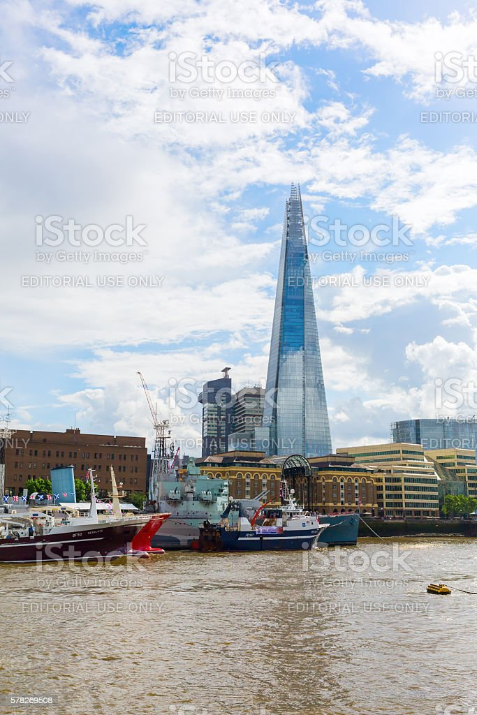 view over river Thames to The Shard in London, UK stock photo