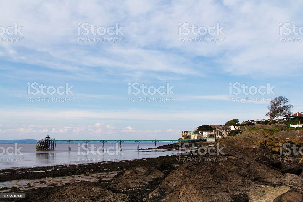 View over rocks at Clevedon sea front stock photo