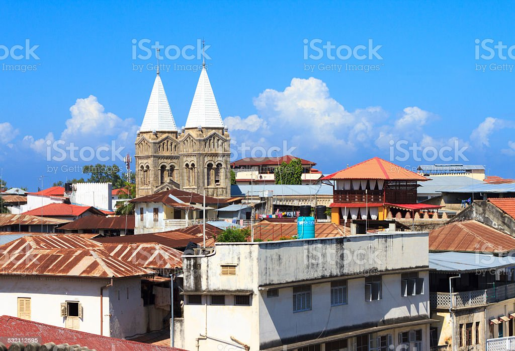 View Over Rooftops in Stone Town, Zanzibar stock photo