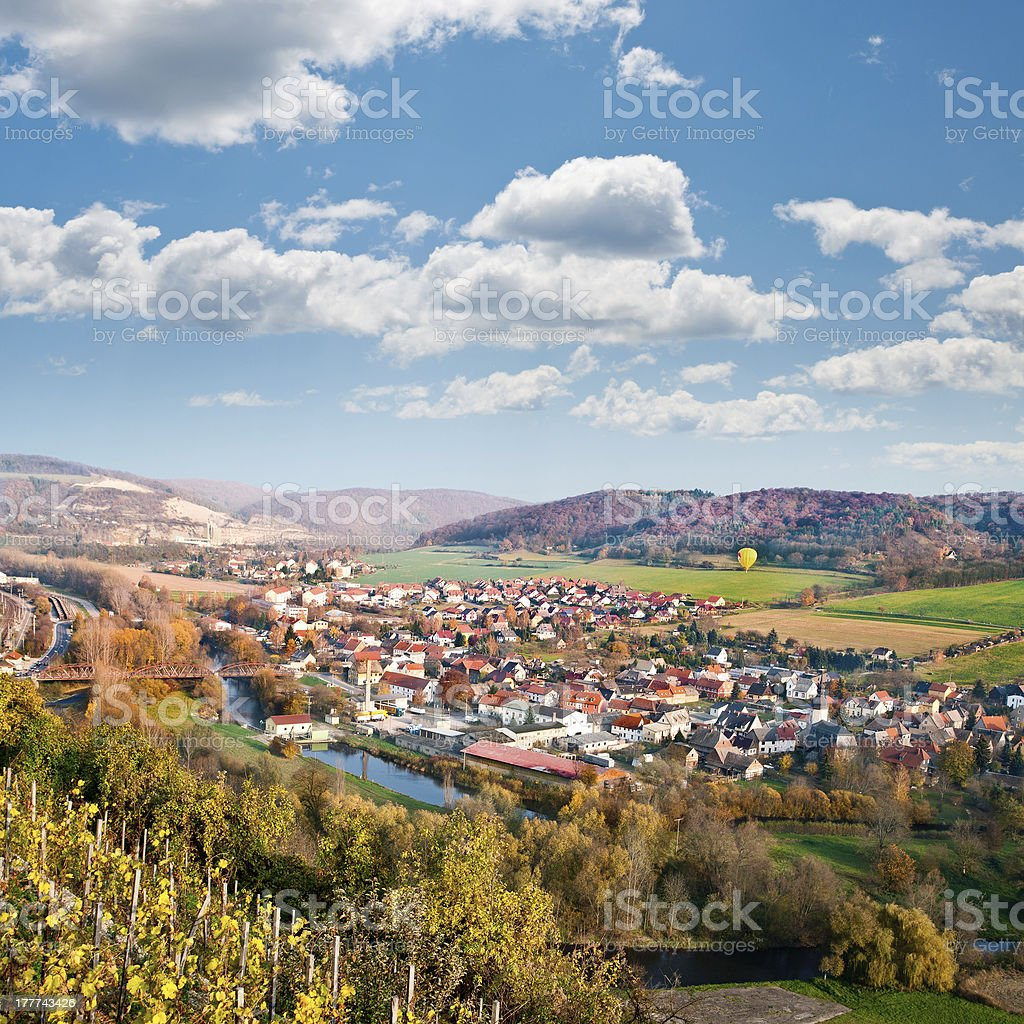 View over Saale river valley near Jena, Germany stock photo
