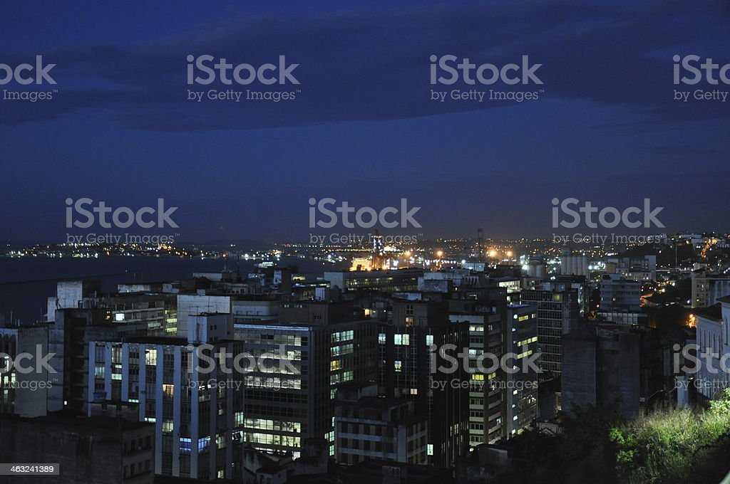 View over Salvador de Bahia at Night royalty-free stock photo