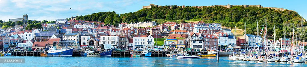 View over Scarborough South Bay harbor in North Yorskire, England stock photo