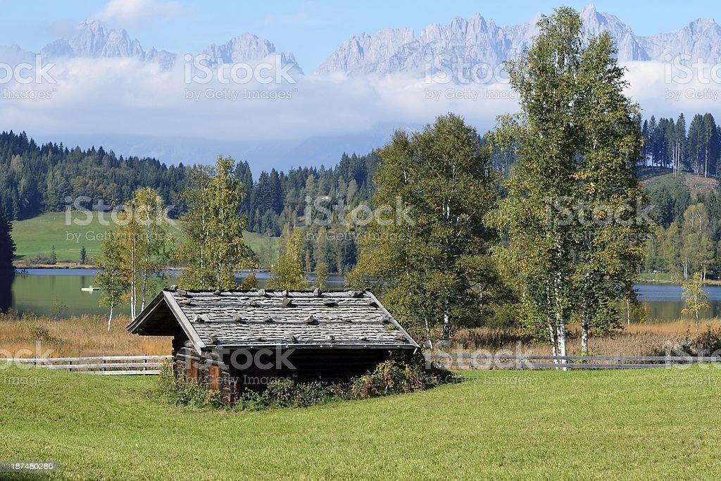 View over Schwarzsee near Kitzbuhel stock photo