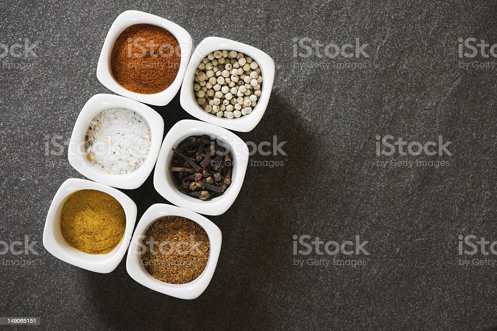 view over several pots with ground spices royalty-free stock photo