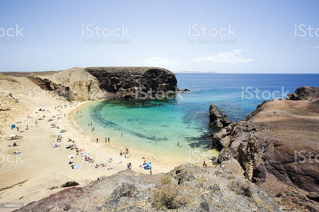 view over small bay at Papagayo beach stock photo
