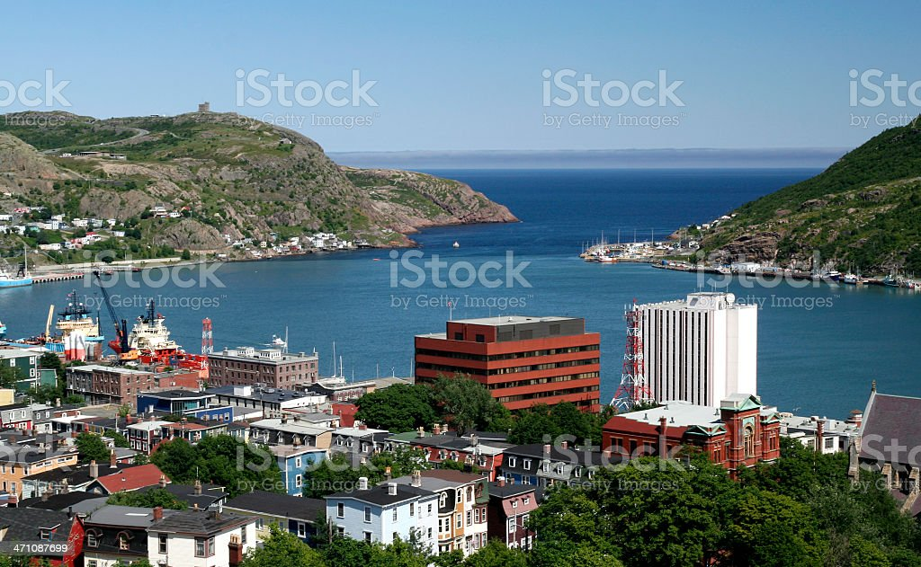 View over St John's, Newfoundland stock photo