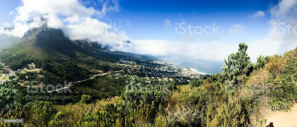 View over Table mountain with clouds stock photo