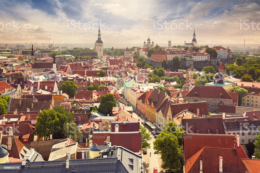 View over Tallinn old town stock photo