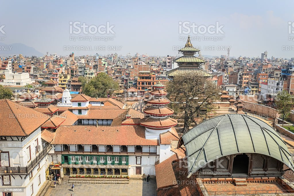 View over temples in Durbar Square, Kathmandu, Nepal stock photo