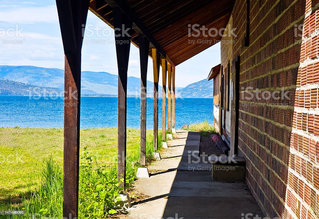 View over teracce on lake and mountains stock photo