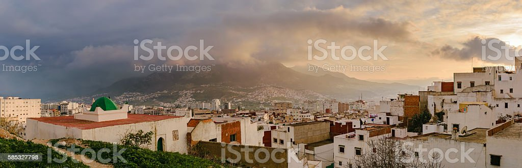 View over Tetouan at sunset, Morocco stock photo