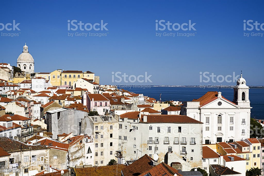 View over the Alfama district of Lisbon royalty-free stock photo