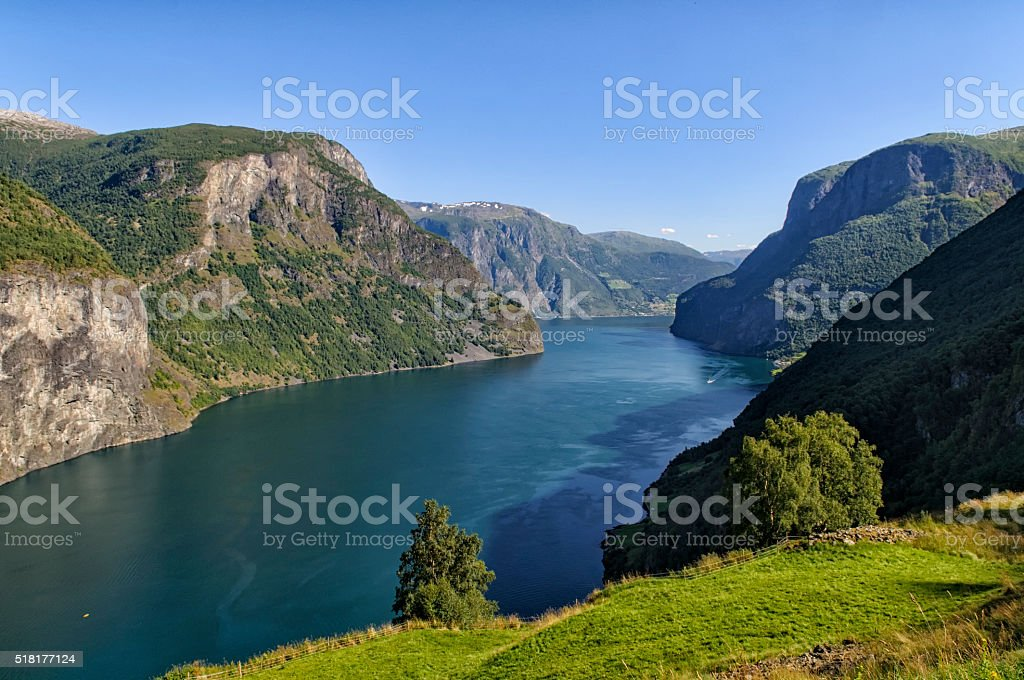 View over the Aurlandsfjord in Norway stock photo