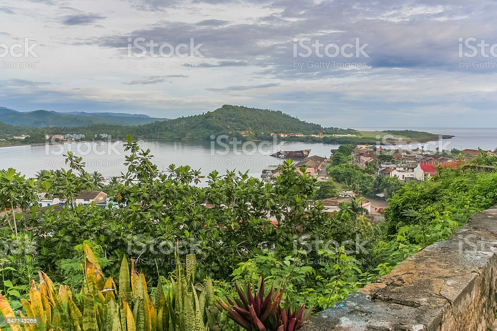 View over the bay of Baracoa stock photo