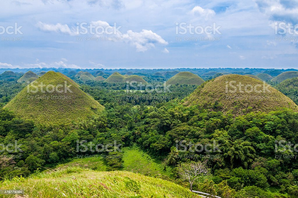 View over the Chocolate Hills in Bohol, Philippines stock photo