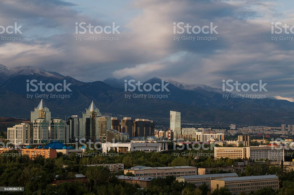 View over the city of Almaty in Kazakhstan. stock photo
