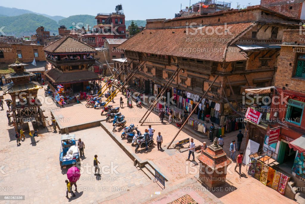 View over the durbar square in bhaktapur stock photo