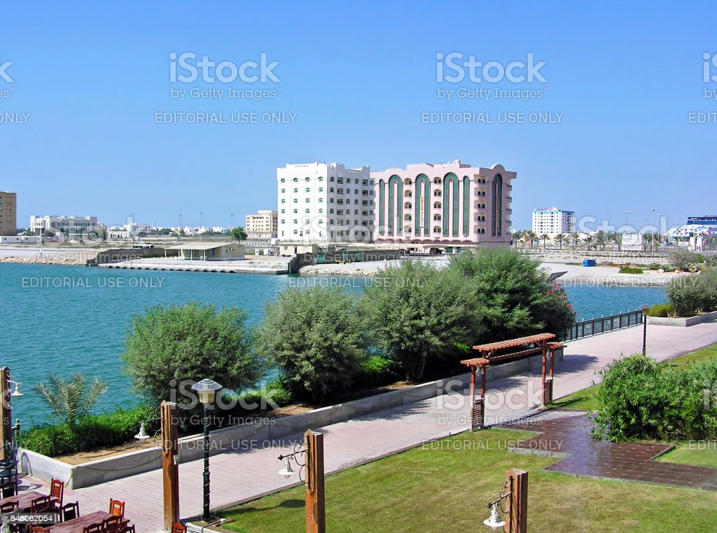 View over the harbor of Ras Al-Khaimah in the United Arab Emirates (UAE) stock photo
