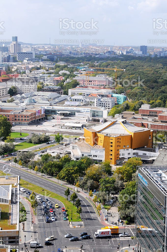 View over The Kulturforum from Potsdamer Platz in Berlin stock photo