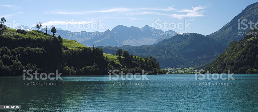 View over the Lake Lungern (Switzerland) on a September day stock photo