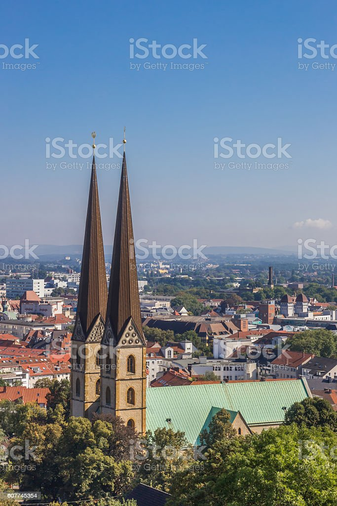 View over the Marienkirche in the historical center of Bielefeld stock photo