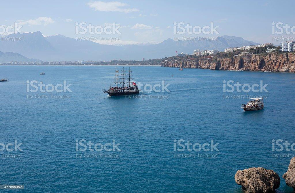 View over the Mediterranean in Antalya, Turkey stock photo