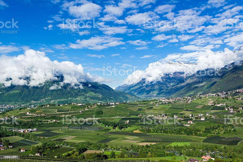 View over the meran dale stock photo