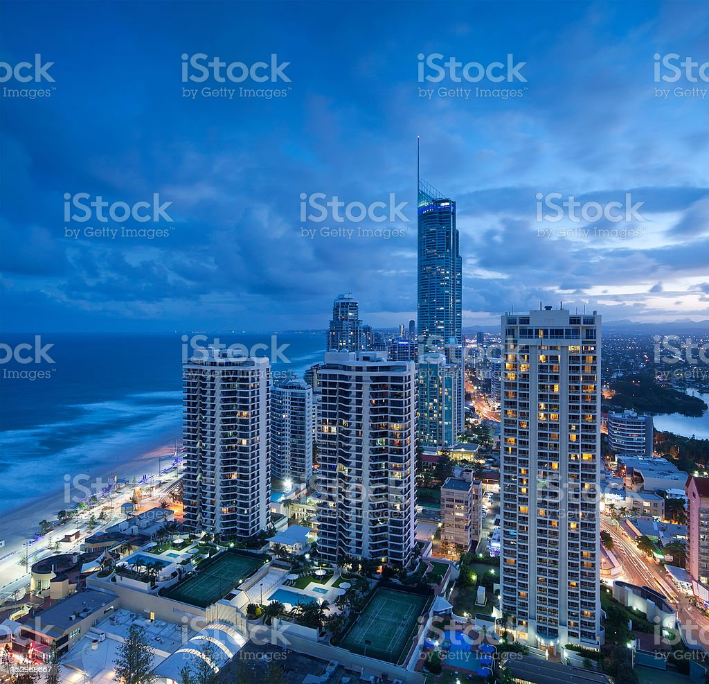 view over the modern city at dusk royalty-free stock photo